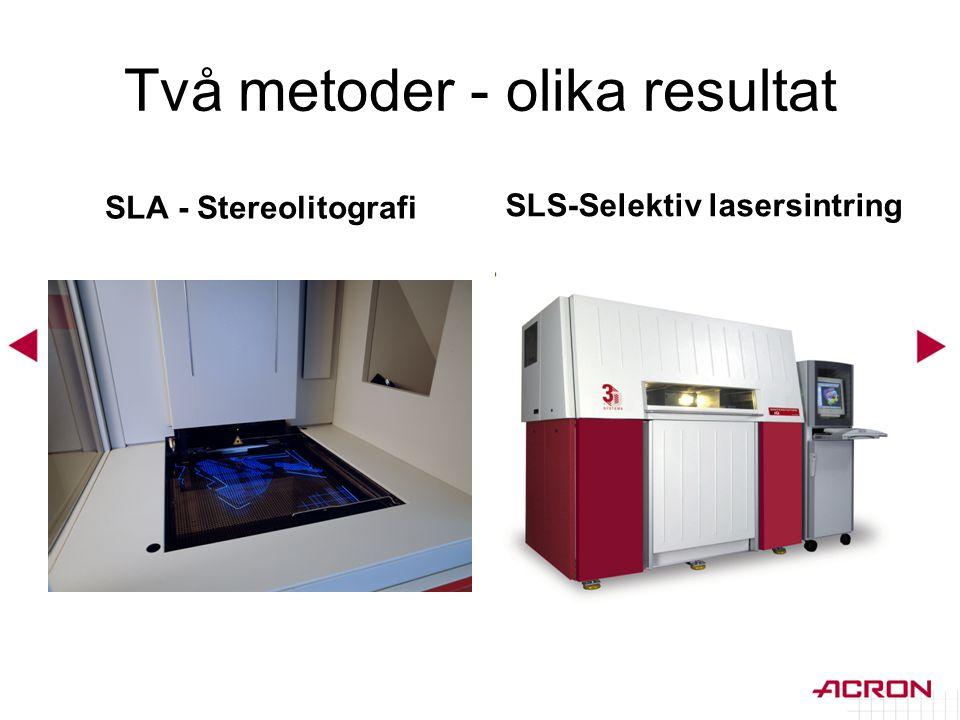 Två metoder - olika resultat SLA - Stereolitografi SLS-Selektiv lasersintring