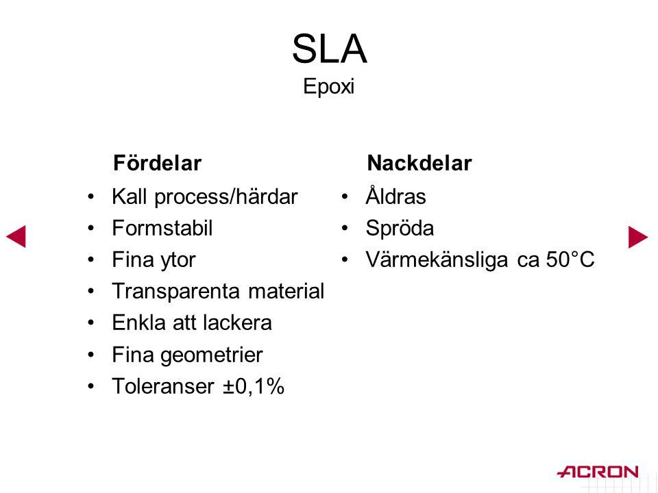 SLA Epoxi Fördelar •Kall process/härdar •Formstabil •Fina ytor •Transparenta material •Enkla att lackera •Fina geometrier •Toleranser ±0,1% Nackdelar