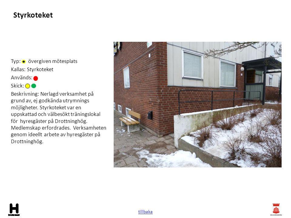 Styrkoteket Typ: övergiven mötesplats Kallas: Styrkoteket Används: Skick: Beskrivning: Nerlagd verksamhet på grund av, ej godkända utrymnings möjlighe
