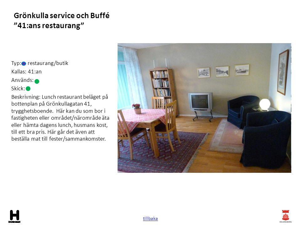 """Grönkulla service och Buffé """"41:ans restaurang"""" Typ: restaurang/butik Kallas: 41:an Används: Skick: Beskrivning: Lunch restaurant beläget på bottenpla"""