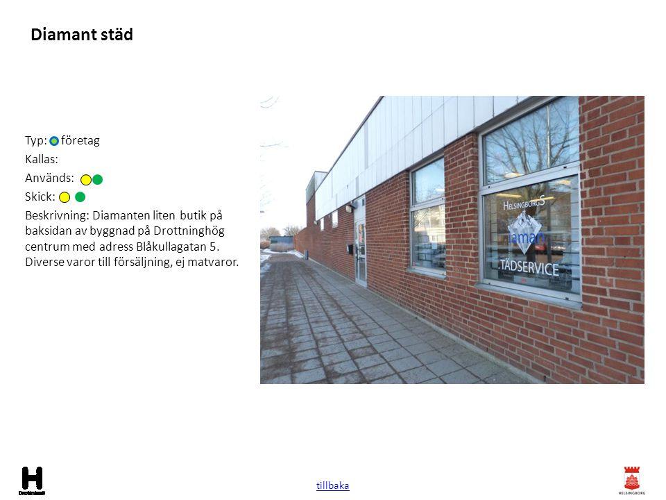 Diamant städ Typ: företag Kallas: Används: Skick: Beskrivning: Diamanten liten butik på baksidan av byggnad på Drottninghög centrum med adress Blåkull