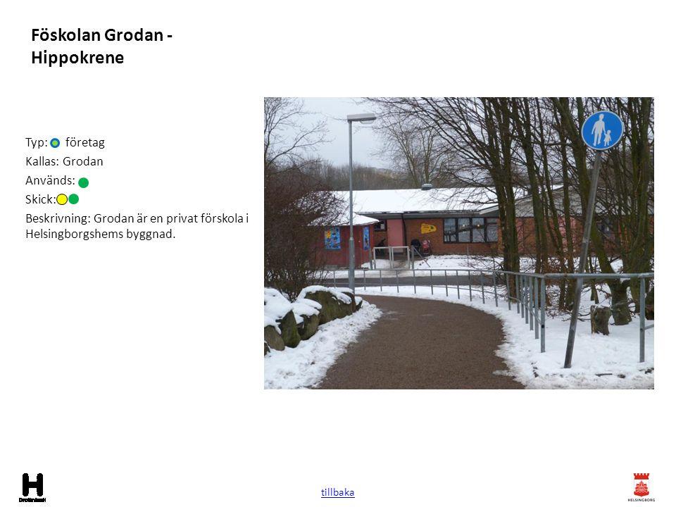 Föskolan Grodan - Hippokrene Typ: företag Kallas: Grodan Används: Skick: Beskrivning: Grodan är en privat förskola i Helsingborgshems byggnad. tillbak