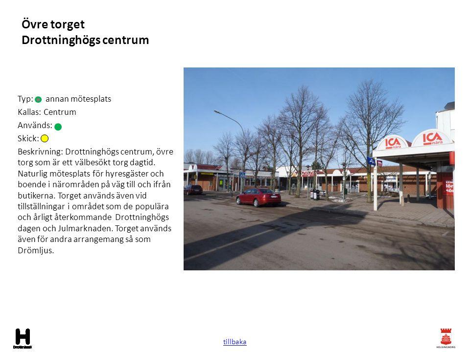 Övre torget Drottninghögs centrum Typ: annan mötesplats Kallas: Centrum Används: Skick: Beskrivning: Drottninghögs centrum, övre torg som är ett välbe