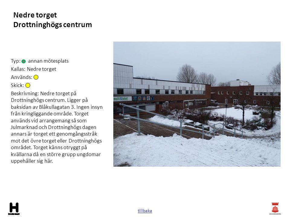 Nedre torget Drottninghögs centrum Typ: annan mötesplats Kallas: Nedre torget Används: Skick: Beskrivning: Nedre torget på Drottninghögs centrum. Ligg
