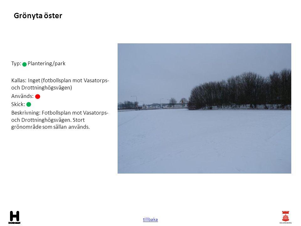 Grönyta öster Typ: Plantering/park Kallas: Inget (fotbollsplan mot Vasatorps- och Drottninghögsvägen) Används: Skick: Beskrivning: Fotbollsplan mot Va