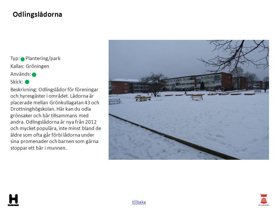 Odlingslådorna Typ: Plantering/park Kallas: Gröningen Används: Skick: Beskrivning: Odlingslådor för föreningar och hyresgäster i området. Lådorna är p