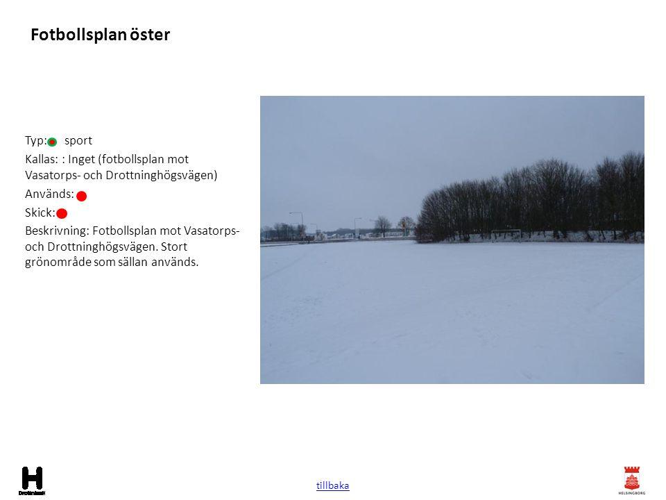 Fotbollsplan öster Typ: sport Kallas: : Inget (fotbollsplan mot Vasatorps- och Drottninghögsvägen) Används: Skick: Beskrivning: Fotbollsplan mot Vasat