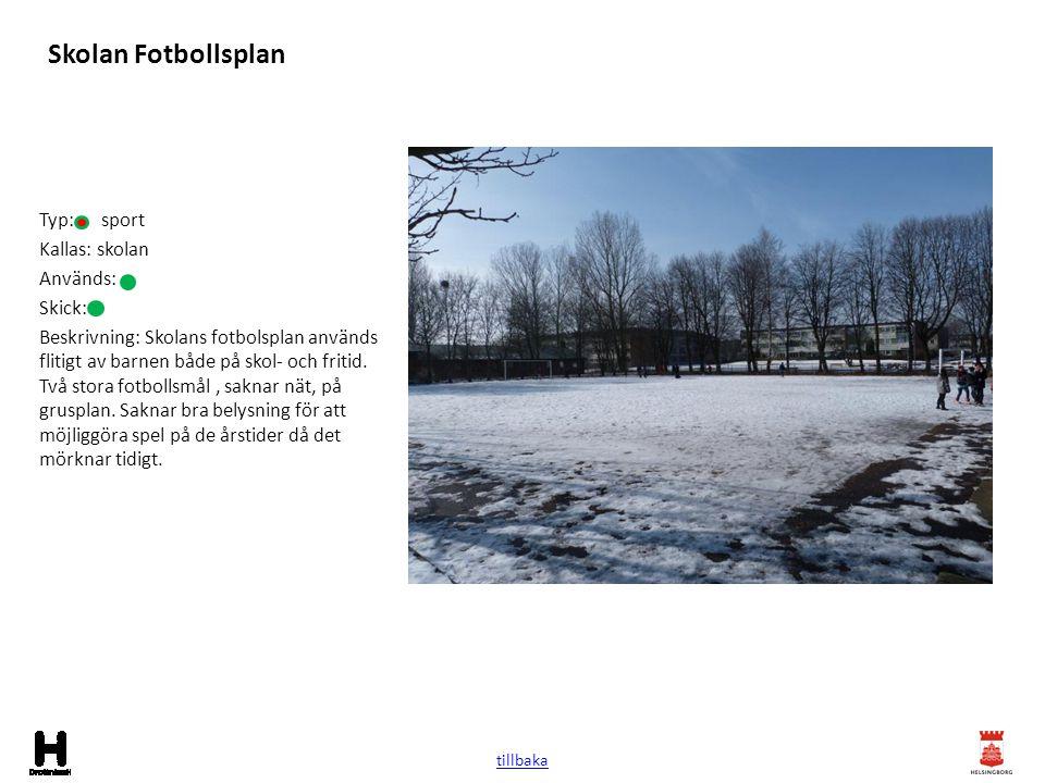 Skolan Fotbollsplan Typ: sport Kallas: skolan Används: Skick: Beskrivning: Skolans fotbolsplan används flitigt av barnen både på skol- och fritid. Två