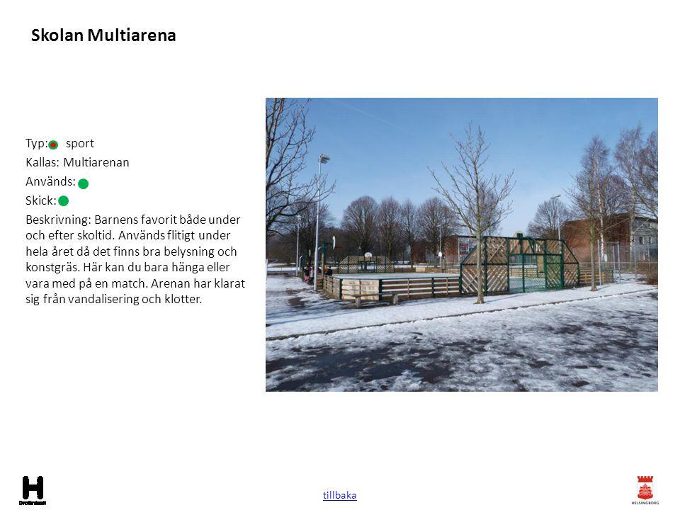 Skolan Multiarena Typ: sport Kallas: Multiarenan Används: Skick: Beskrivning: Barnens favorit både under och efter skoltid. Används flitigt under hela