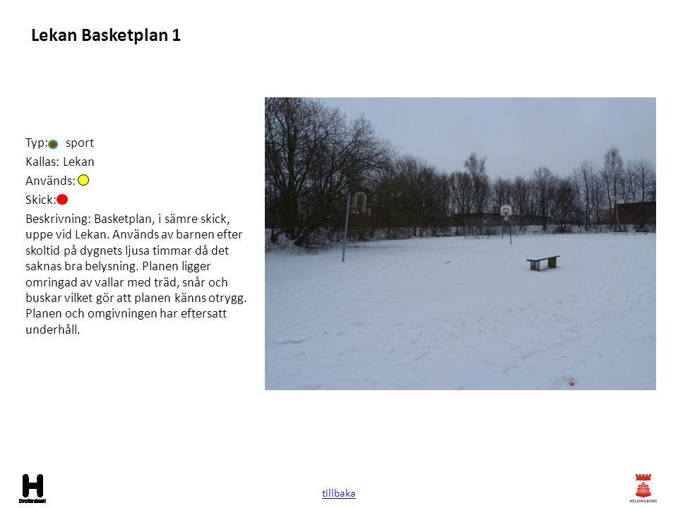Lekan Basketplan 1 Typ: sport Kallas: Lekan Används: Skick: Beskrivning: Basketplan, i sämre skick, uppe vid Lekan. Används av barnen efter skoltid på