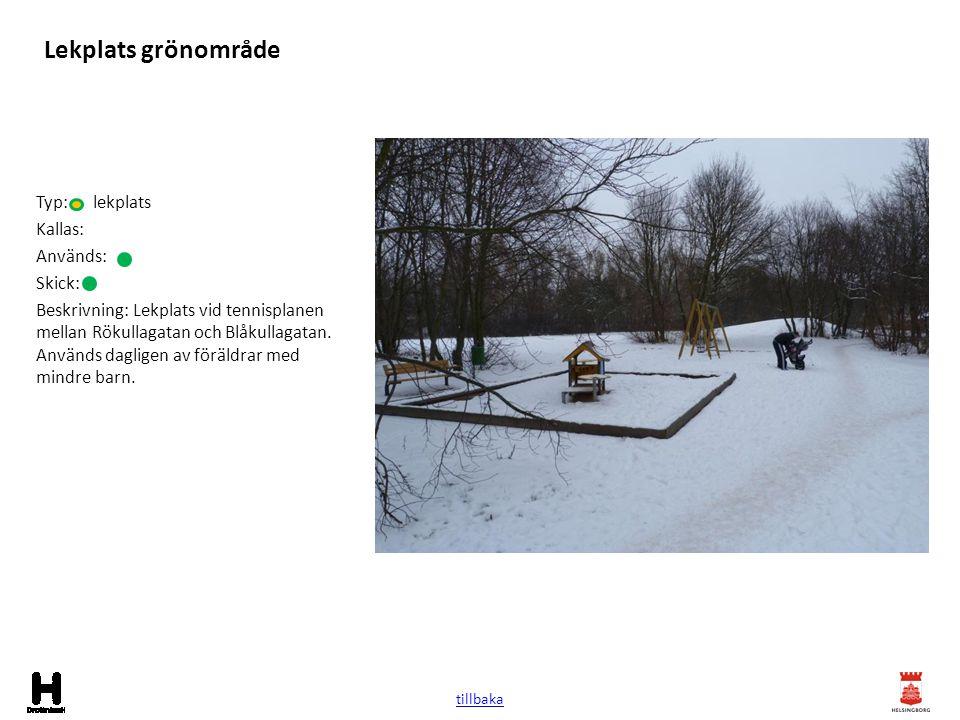 Lekplats grönområde Typ: lekplats Kallas: Används: Skick: Beskrivning: Lekplats vid tennisplanen mellan Rökullagatan och Blåkullagatan. Används daglig