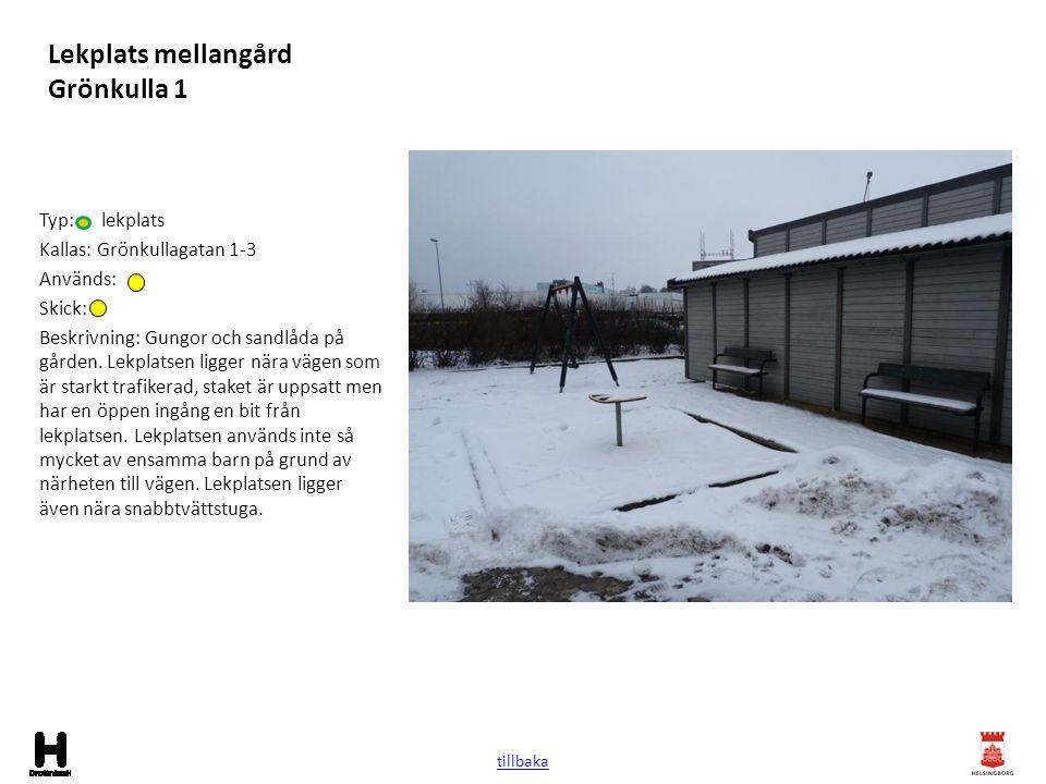 Lekplats mellangård Grönkulla 1 Typ: lekplats Kallas: Grönkullagatan 1-3 Används: Skick: Beskrivning: Gungor och sandlåda på gården. Lekplatsen ligger