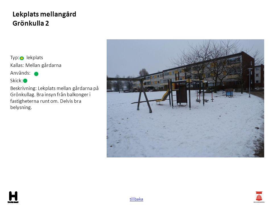 Lekplats mellangård Grönkulla 2 Typ: lekplats Kallas: Mellan gårdarna Används: Skick: Beskrivning: Lekplats mellan gårdarna på Grönkullag. Bra insyn f