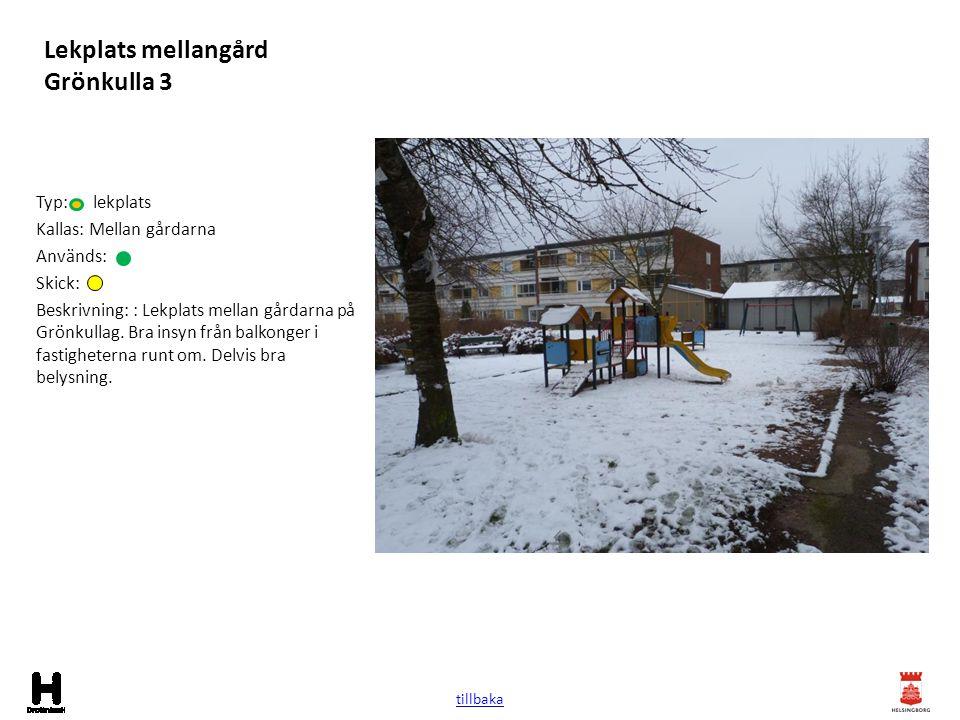 Lekplats mellangård Grönkulla 3 Typ: lekplats Kallas: Mellan gårdarna Används: Skick: Beskrivning: : Lekplats mellan gårdarna på Grönkullag. Bra insyn