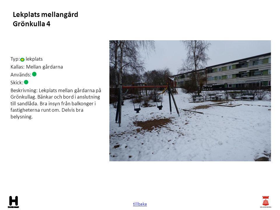Lekplats mellangård Grönkulla 4 Typ: lekplats Kallas: Mellan gårdarna Används: Skick: Beskrivning: Lekplats mellan gårdarna på Grönkullag. Bänkar och