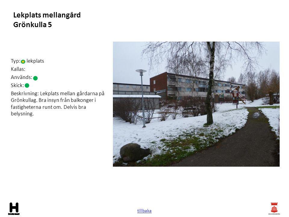 Lekplats mellangård Grönkulla 5 Typ: lekplats Kallas: Används: Skick: Beskrivning: Lekplats mellan gårdarna på Grönkullag. Bra insyn från balkonger i