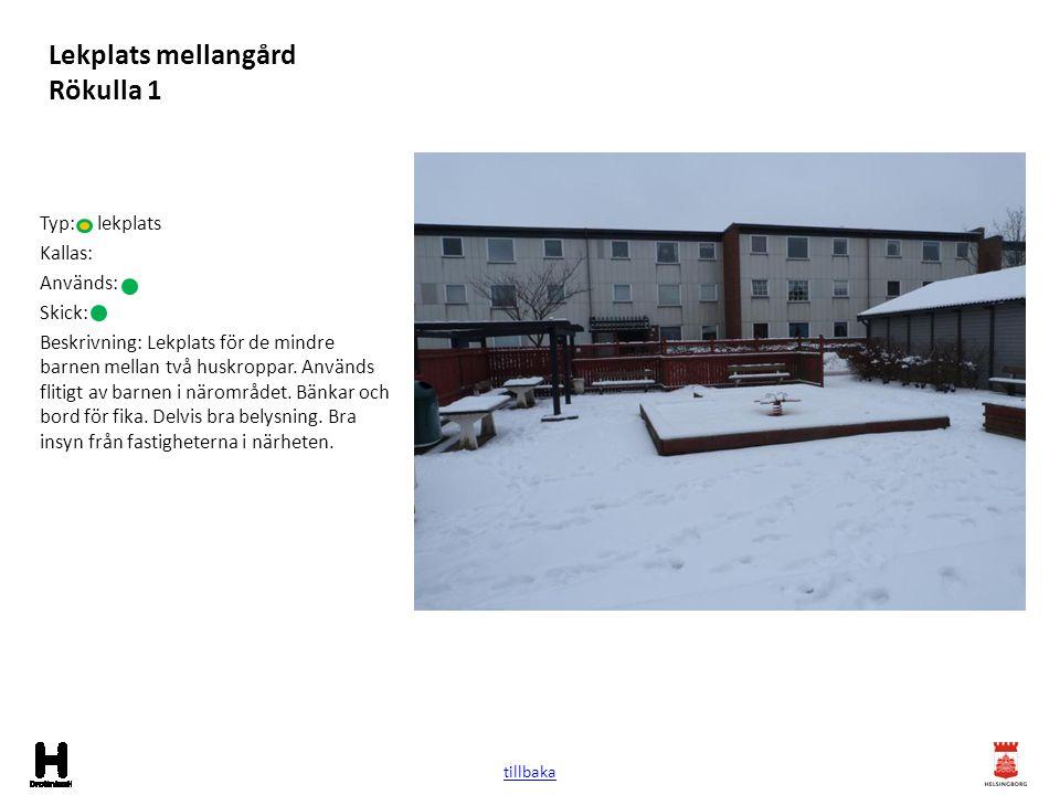 Lekplats mellangård Rökulla 1 Typ: lekplats Kallas: Används: Skick: Beskrivning: Lekplats för de mindre barnen mellan två huskroppar. Används flitigt