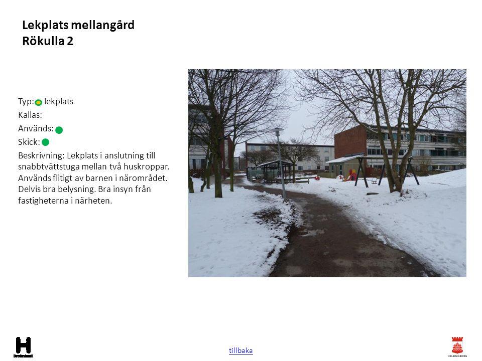 Lekplats mellangård Rökulla 2 Typ: lekplats Kallas: Används: Skick: Beskrivning: Lekplats i anslutning till snabbtvättstuga mellan två huskroppar. Anv