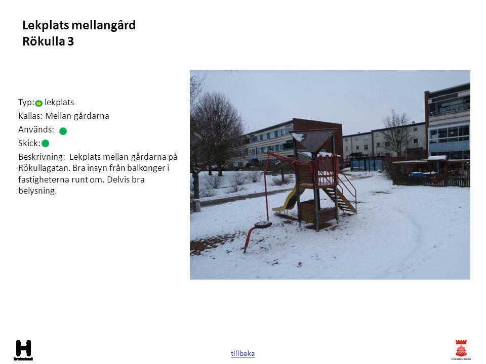 Lekplats mellangård Rökulla 3 Typ: lekplats Kallas: Mellan gårdarna Används: Skick: Beskrivning: Lekplats mellan gårdarna på Rökullagatan. Bra insyn f