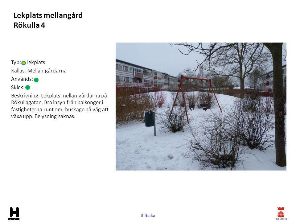 Lekplats mellangård Rökulla 4 Typ: lekplats Kallas: Mellan gårdarna Används: Skick: Beskrivning: Lekplats mellan gårdarna på Rökullagatan. Bra insyn f