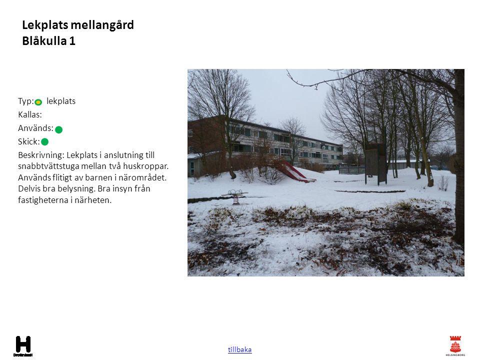 Lekplats mellangård Blåkulla 1 Typ: lekplats Kallas: Används: Skick: Beskrivning: Lekplats i anslutning till snabbtvättstuga mellan två huskroppar. An