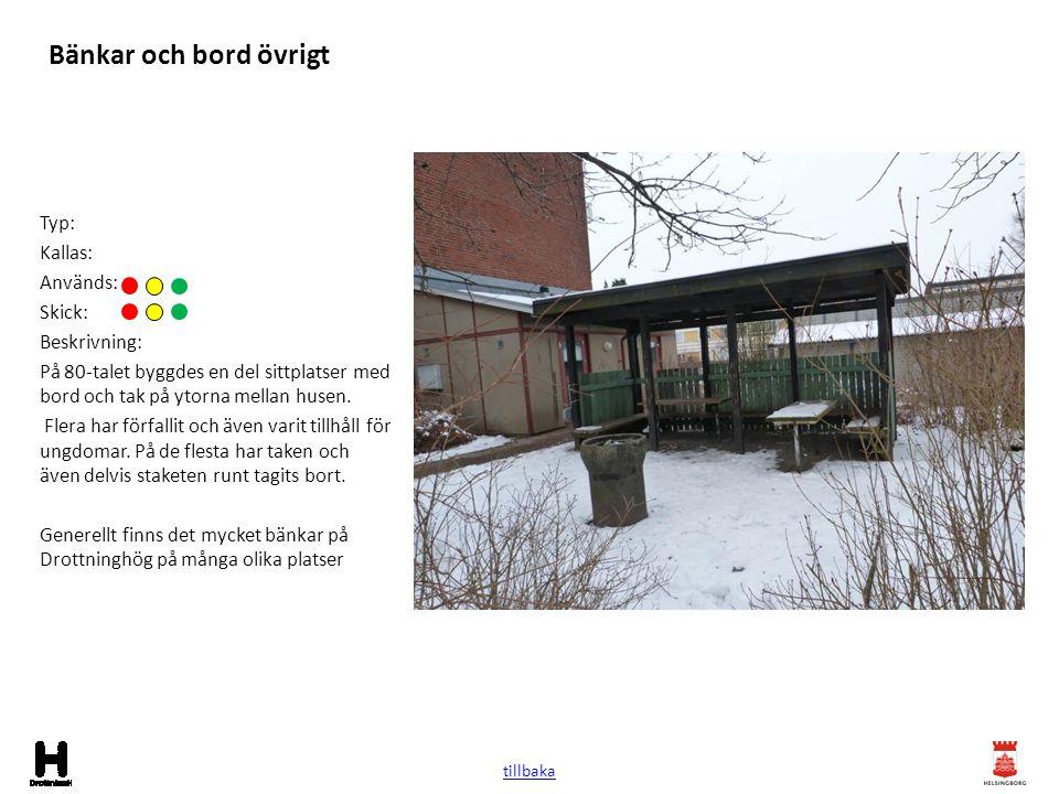 Bänkar och bord övrigt Typ: Kallas: Används: Skick: Beskrivning: På 80-talet byggdes en del sittplatser med bord och tak på ytorna mellan husen. Flera