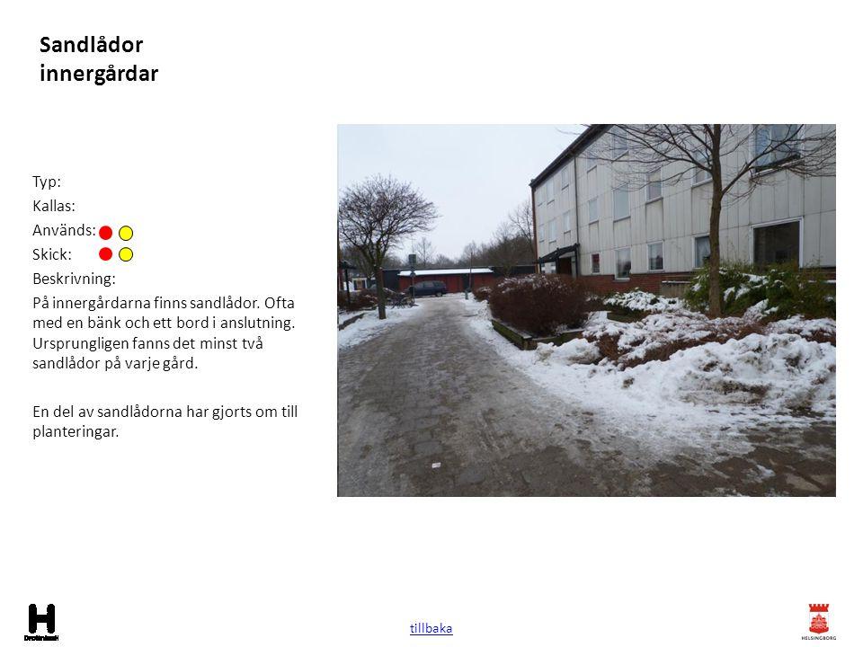 Sandlådor innergårdar Typ: Kallas: Används: Skick: Beskrivning: På innergårdarna finns sandlådor. Ofta med en bänk och ett bord i anslutning. Ursprung