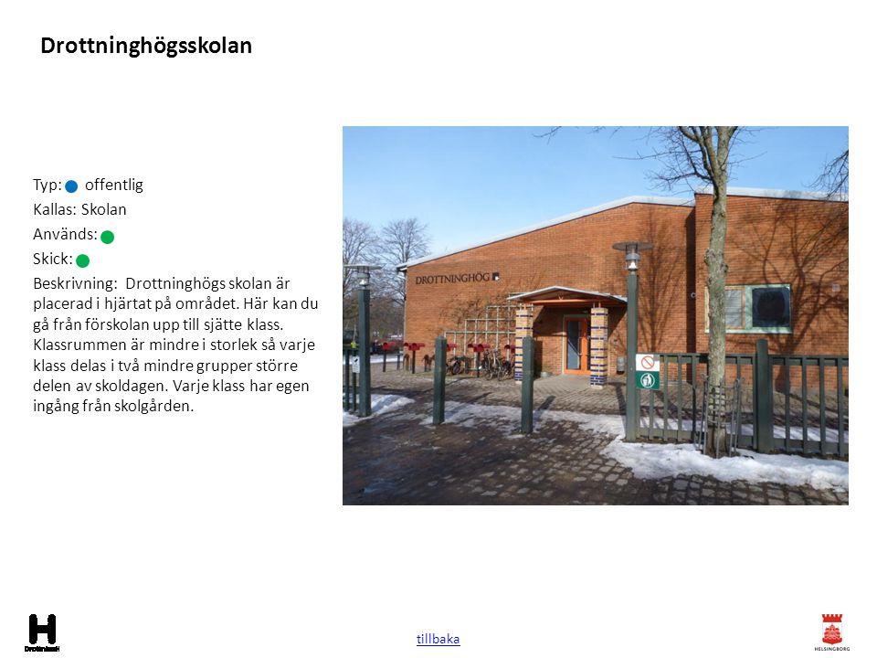 Drottninghögsskolan Typ: offentlig Kallas: Skolan Används: Skick: Beskrivning: Drottninghögs skolan är placerad i hjärtat på området. Här kan du gå fr