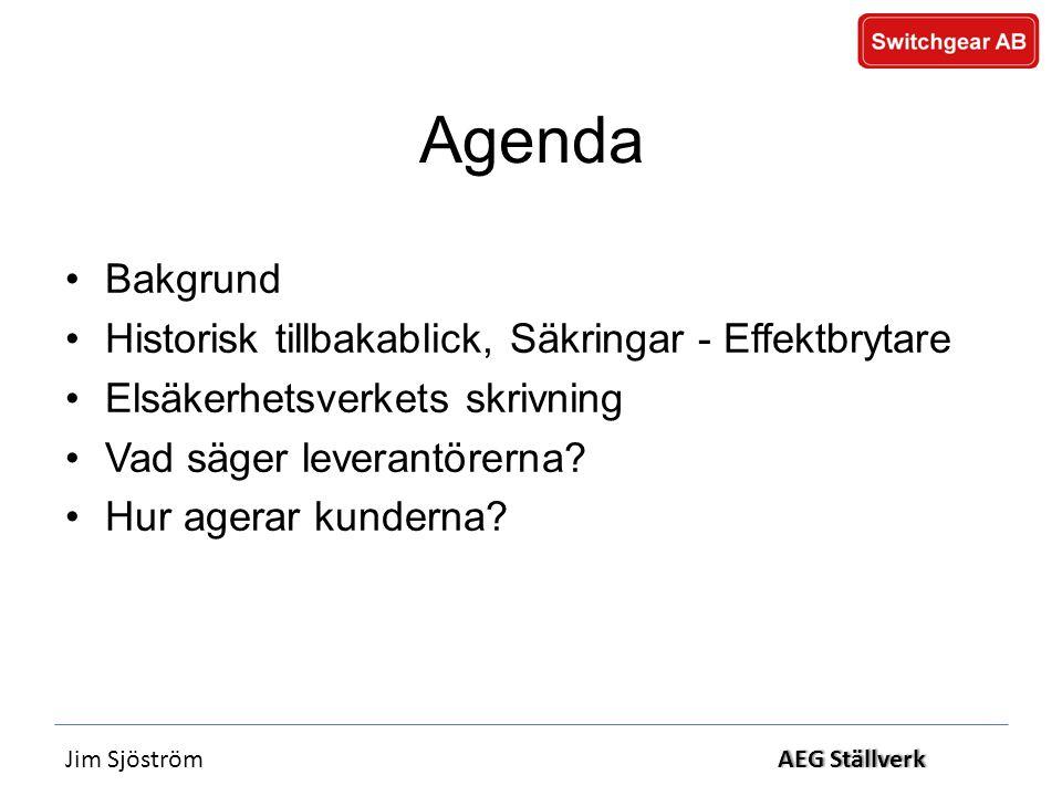 Jim SjöströmAEG StällverkAEG Ställverk Agenda •Bakgrund •Historisk tillbakablick, Säkringar - Effektbrytare •Elsäkerhetsverkets skrivning •Vad säger leverantörerna.