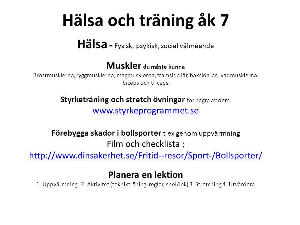 Hälsa och Träning åk 8 Konditionsträning, styrketräning och rörlighetsträning(stretching) – Varför.