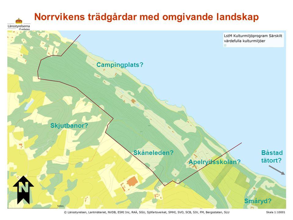Norrvikens trädgårdar ( M 36) riksintressebeskrivning Motivering Rekreationslandskap med bebyggelse och anläggningar för trädgårdsodling, undervisning och förströelse som återspeglar utvecklingen av samhällets syn på människor, bildning, hälsa, naturmiljön och landskapsgestaltning – från sekelskiftet 1900 och fram till idag.