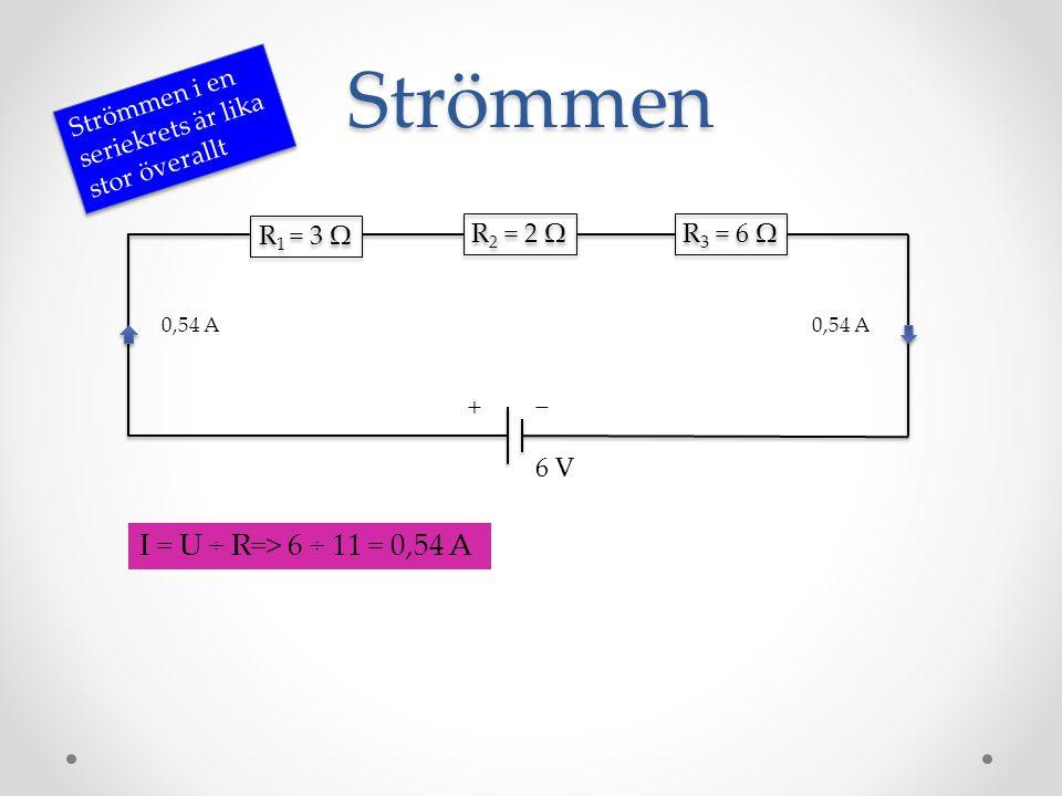 Strömmen R 1 = 3 Ω R 2 = 2 Ω R 3 = 6 Ω − + Strömmen i en seriekrets är lika stor överallt 6 V I = U ÷ R=> 6 ÷ 11 = 0,54 A 0,54 A