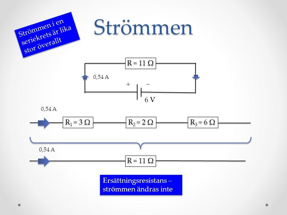 Strömmen R = 11 Ω −+ Strömmen i en seriekrets är lika stor överallt 6 V R = 11 Ω 0,54 A R 1 = 3 Ω R 2 = 2 Ω R 3 = 6 Ω 0,54 A Ersättningsresistans – st
