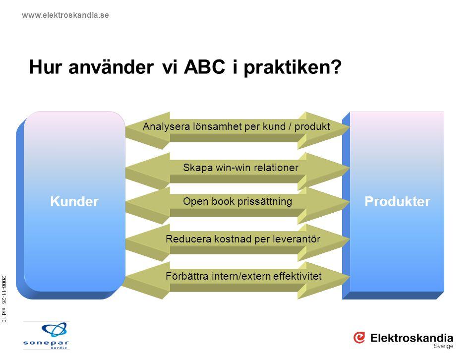 2008-11-26 sid 10 www.elektroskandia.se Hur använder vi ABC i praktiken? Produkter Analysera lönsamhet per kund / produkt Skapa win-win relationer Ope