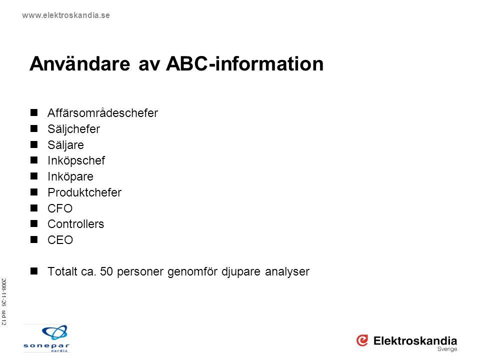 2008-11-26 sid 12 www.elektroskandia.se Användare av ABC-information  Affärsområdeschefer  Säljchefer  Säljare  Inköpschef  Inköpare  Produktche