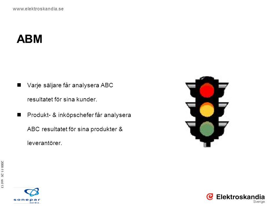 2008-11-26 sid 13 www.elektroskandia.se ABM  Varje säljare får analysera ABC resultatet för sina kunder.  Produkt- & inköpschefer får analysera ABC