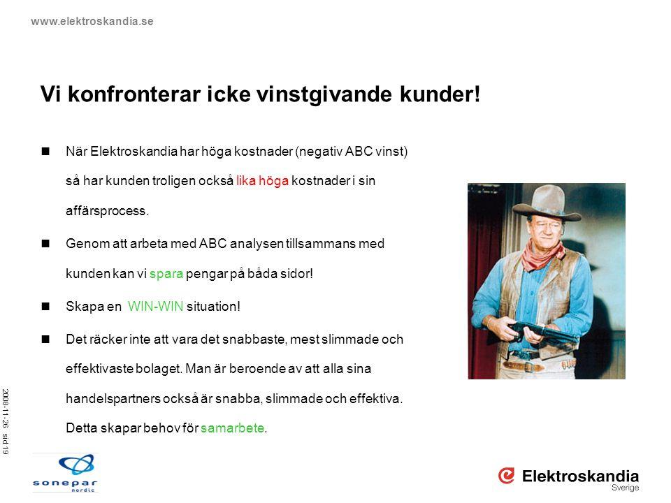 2008-11-26 sid 19 www.elektroskandia.se Vi konfronterar icke vinstgivande kunder!  När Elektroskandia har höga kostnader (negativ ABC vinst) så har k