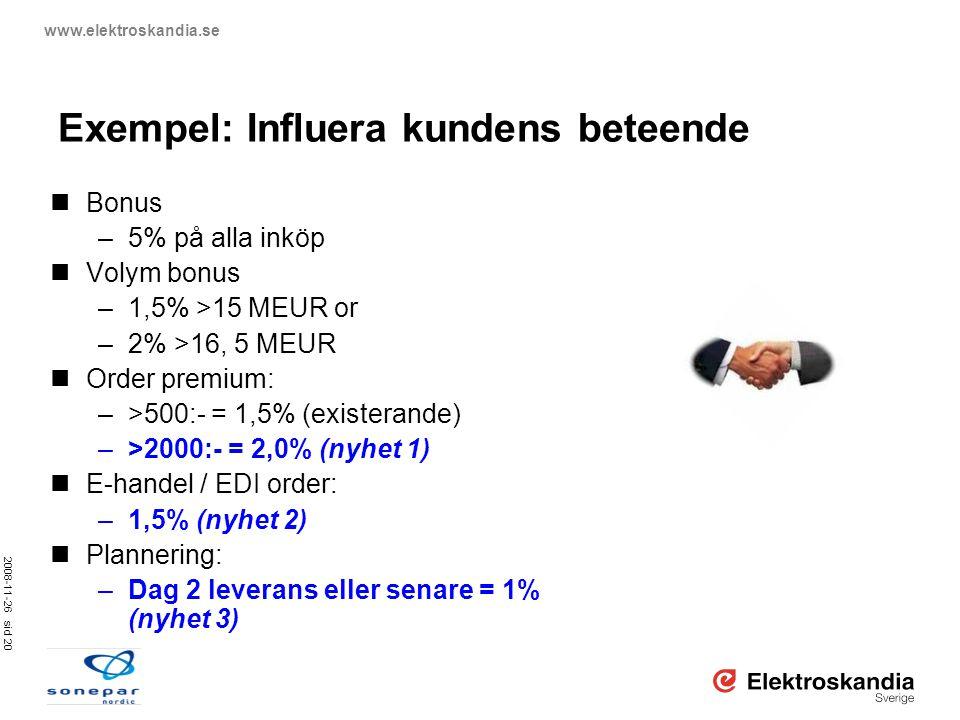 2008-11-26 sid 20 www.elektroskandia.se  Bonus –5% på alla inköp  Volym bonus –1,5% >15 MEUR or –2% >16, 5 MEUR  Order premium: –>500:- = 1,5% (exi