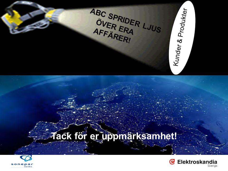 2008-11-26 sid 25 www.elektroskandia.se Tack för er uppmärksamhet! ABC SPRIDER LJUS ÖVER ERA AFFÄRER! Kunder & Produkter