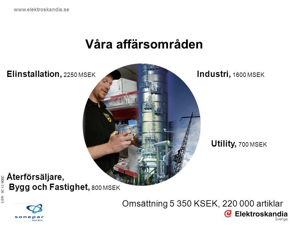 2008-11-26 sid 5 www.elektroskandia.se Våra affärsområden Utility, 700 MSEK Återförsäljare, Bygg och Fastighet, 800 MSEK Industri, 1600 MSEK Elinstall