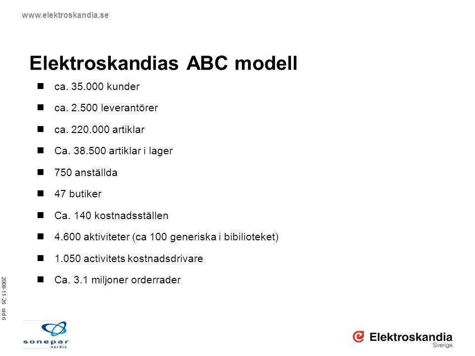 2008-11-26 sid 6 www.elektroskandia.se Elektroskandias ABC modell  ca. 35.000 kunder  ca. 2.500 leverantörer  ca. 220.000 artiklar  Ca. 38.500 art
