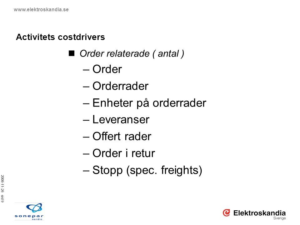2008-11-26 sid 9 www.elektroskandia.se Activitets costdrivers  Order relaterade ( antal ) –Order –Orderrader –Enheter på orderrader –Leveranser –Offe