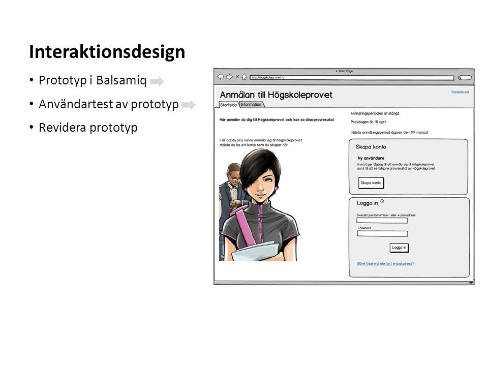 Sv • Prototyp i Balsamiq • Användartest av prototyp • Revidera prototyp Interaktionsdesign