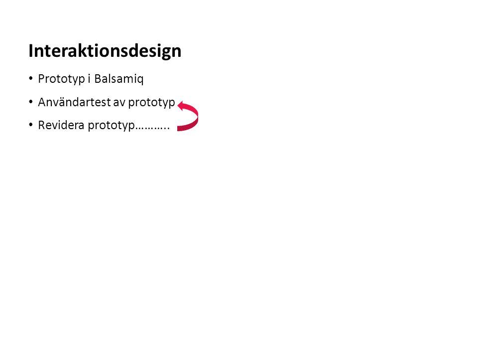 Sv • Prototyp i Balsamiq • Användartest av prototyp • Revidera prototyp……….. Interaktionsdesign