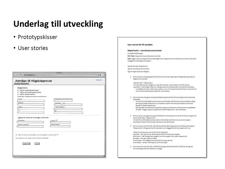 Sv • Prototypskisser • User stories Underlag till utveckling