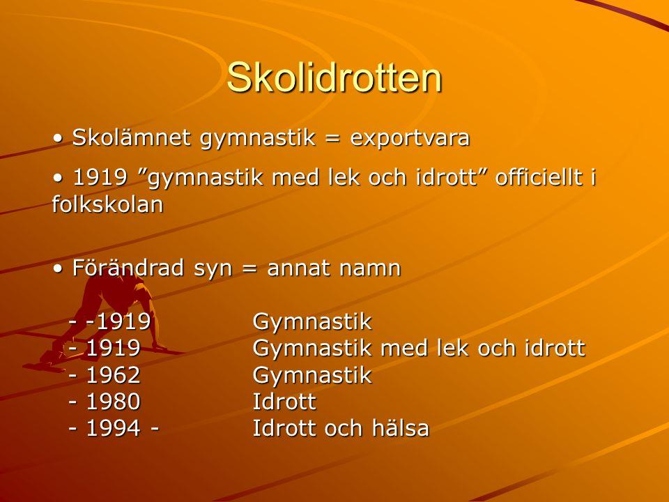 """Skolidrotten • Skolämnet gymnastik = exportvara • 1919 """"gymnastik med lek och idrott"""" officiellt i folkskolan • Förändrad syn = annat namn - -1919Gymn"""