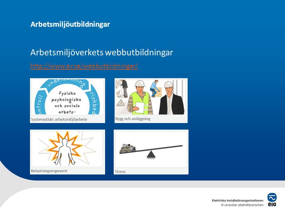 Arbetsmiljöutbildningar EUU • ELBAM – Bättre arbetsmiljö EL – 3 dagar • ELBAM uppdatering – 1 dag • BAS-P och BAS-U – 1 dag • Arbetsmiljöansvar för ch