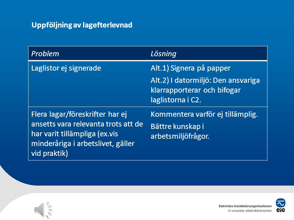 Uppföljning av lagefterlevnad ProblemLösning Laglistor ej signeradeAlt.1) Signera på papper Alt.2) I datormiljö: Den ansvariga klarrapporterar och bifogar laglistorna i C2.