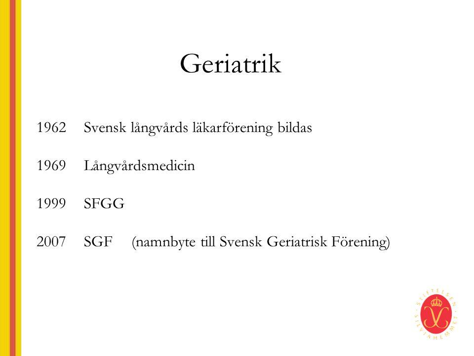 Geriatrik 1962Svensk långvårds läkarförening bildas 1969Långvårdsmedicin 1999SFGG 2007SGF (namnbyte till Svensk Geriatrisk Förening)