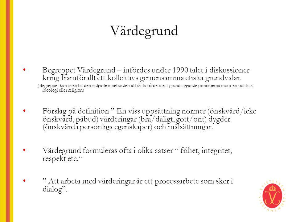Värdegrund •Begreppet Värdegrund – infördes under 1990 talet i diskussioner kring framförallt ett kollektivs gemensamma etiska grundvalar.